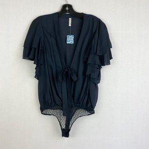 FREE PEOPLE Blue Flounce-Sleeve Bodysuit NWT